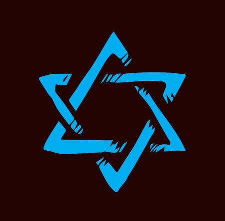 Old kosher judaic chanukkah magen shape heritage. God torah chanukah yiddish day emblem. Blue color hand drawn zion ethnic hannukah frame in retro art doodle cartoon style on dark black pattern for text