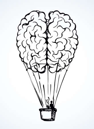 Line fun nervous logic organ rise trip balloon picture on white sky background. Outline black ink hand drawn nerve cortex brainy system emblem pictogram in doodle art retro cartoon abstract style 免版税图像