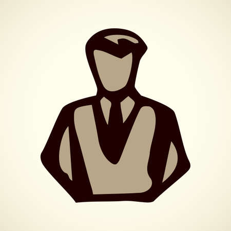 Network job officer guy ui concept emblem on white backdrop. Freehand outline black ink hand drawn picture sketchy in art retro scribble style pen on paper. Closeup front view with space for text