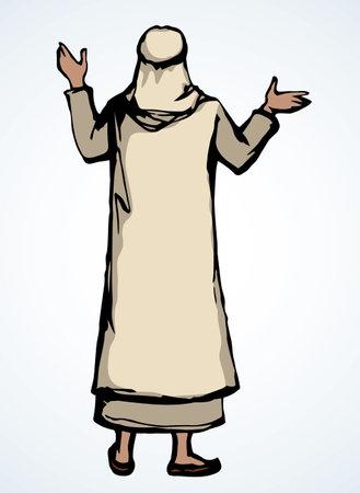 Bedouin welcome guy turban hat. Black drawn old bible human faith sign icon symbol. Retro biblic jewish history cartoon happy preacher. Asia kandura thobe robe tunic rear behind arm up jew winner view