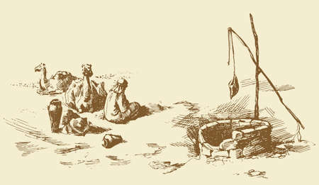 Tired trip old historic biblical nomad seat in barren hot wild asian Oman ground. Line hand drawn berber scene sketch in antique style ink pen on paper. Scenic up view and space for text on white sky