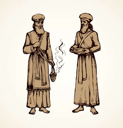 Moses torah historic divine ministry culture. Old bearded Aaron in tunic, turban with censer of incense. Line black ink hand drawn judaic levit leader picture sketch in vintage art east engrave silhouette style Vektorgrafik