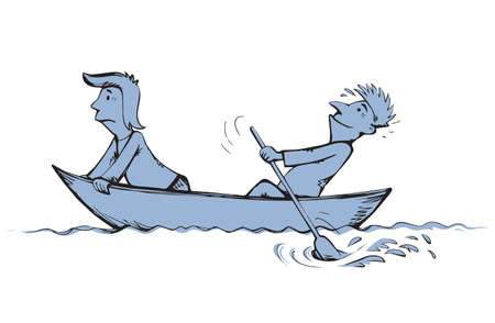 2 candid guy figure trip in old small wooden ski skiff isolated on white lake background. Freehand line black ink drawn picture logo sketchy in art retro doodle comic style pen on paper space for text Logo