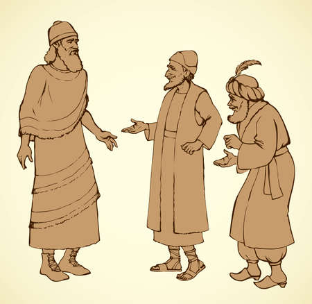 Aged bearded noble chaldean in middle east sumer semitic Aramean biblical attire: linen tunic with fringes, old hat, leather boots with laces. Outline ink hand drawn sketch in vintage engraving style