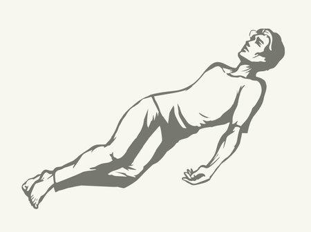 Unwell sleepy sad faint victim boy body relief dream slumber. Outline black hand drawn adult lazy worker guy health leisure drunkard lifestyle symbol. Retro white line art work cartoon character style