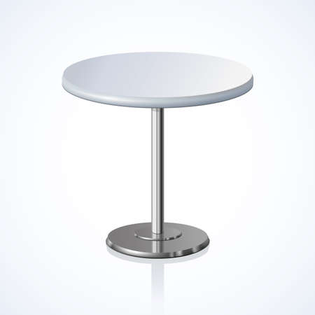 Big lap disk shape pale gray color stylish 3d board platen stand on one solid shiny stem foot on light backdrop. Club concept design object. Close-up side view with space for text