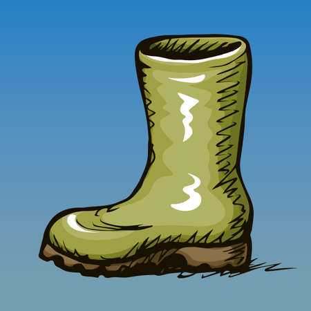 Trendy old cozy styled rainy wellie isolated on blue background. Freehand vibrant khaki color hand drawn icon symbol sketchy in art scribble retro style. Side closeup view with space for text