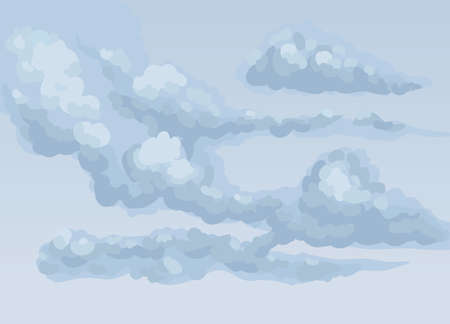 Autumn frown nebulous scenery isolated on twilight heaven backdrop. Dark gloomy blue color hand drawn somber gale skyscape sketch in art cartoon style. Panoramic view with copyspace for text