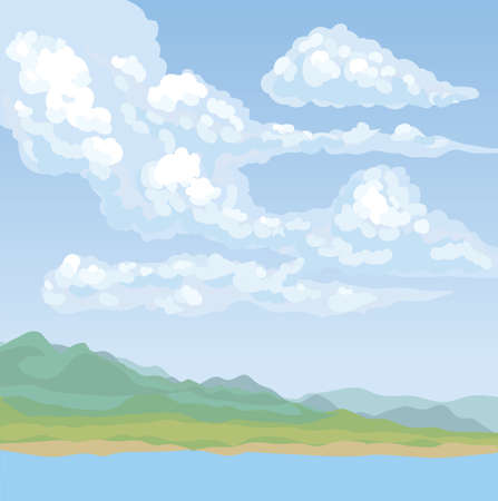Stream bank fog view on cyan heaven backdrop. Bright azure color hand drawn gale rocky mount painting sketch picture in art cartoon graphic style. Panoramic windy rainy scenery with copyspace for text Illustration