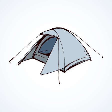 Open hiker resort booth tarpaulin habitation on white backdrop. Light silver color hand drawn logo sketchy in art modern scribble contour style pen on paper. Closeup view and space for text