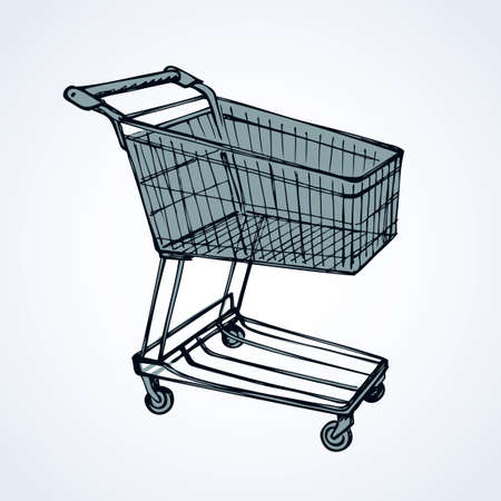 Empty big old warehouse trolly wagon for e spend isolated on white background. Freehand line black ink drawn sketchy logo sign in art scribble style pen on paper. Closeup side view with space for text Stock Photo