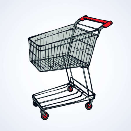 Empty big red warehouse trolly wagon for spend isolated on white background. Bright color hand drawn logo emblem picture sketchy in art scribble style. Closeup side view with space for text