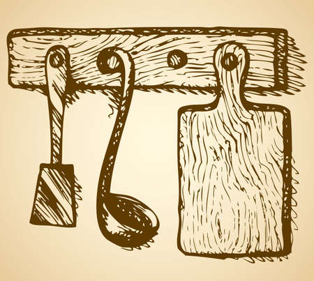 Cutting board, ladle and spatula hanging on the kitchen wall on hanger. Vector freehand ink drawn background sketchy in grunge scrawl antiquity style of pen on paper with space for text 版權商用圖片