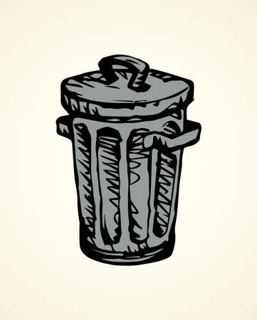 Gray iron trashbin for refuse isolated on white backdrop. Freehand outline black ink hand drawn picture logo sketchy in art retro scribble style pen on paper. Close up view with space for text