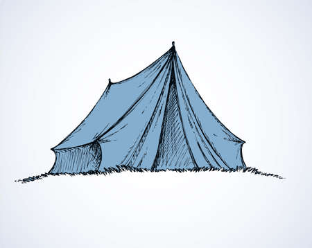 Cute old temporal nylon bivvy stretched a rope tied to wooden peg in grass. Monochrome freehand outline ink drawn background sketchy in art scribble antiquity style pen on paper with space for text
