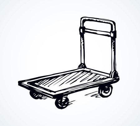 Big empty forklift handcart dolly basket on white platform backdrop. Black outline ink hand drawn goods box wagon logo sign pictogram sketch in modern art doodle cartoon style on paper space for text