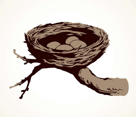 New twig woven eco birdnest on white backdrop. Line black ink hand drawn birdie embryo food object logo emblem sketchy in retro art doodle style pen on paper space for text. Closeup outline april view Ilustracja