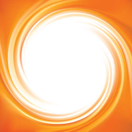 Vector vortex ripple backdrop with space for text in glowing white center. Beautiful curl fluid surface vivid hot terracotta color. Circle mix of pure fresh sweet carrot, apricot and lemon dessert syrup