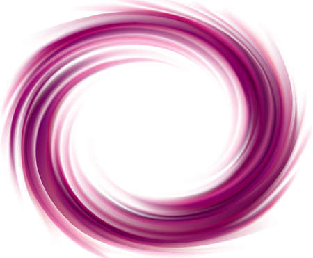 Vector swirling backdrop. Spiral liquid lilac surface with glowing white center in middle of funnel. Petite juice different fruits blue: grape, currant, blueberry, blackberry, mulberry, cherry