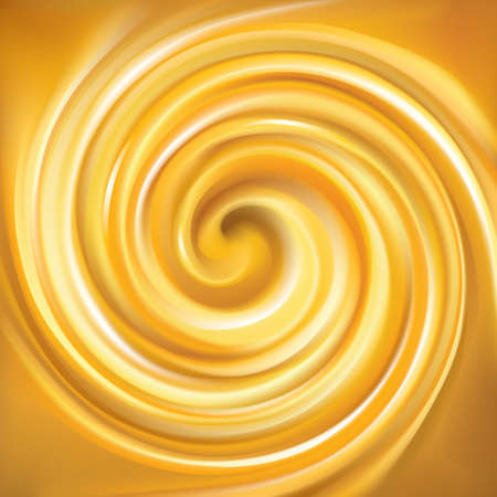 Vector light ocher whirl ripple backdrop with space for text. Beautiful curl fluid surface bright hot amber color. Circle mix of pure fresh sweet carrot, apricot, lemon dessert syrup as eddy caramel Ilustracja
