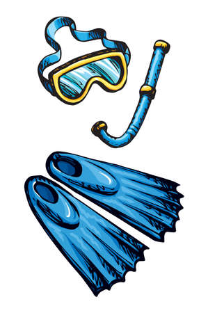 Summer ocean stuff. Rubber swimfins boots, blue plastic mouthpiece pipe and spectacle isolated on white background. Bright cyan color hand drawn sketch in retro art doodle graphic style. Closeup view