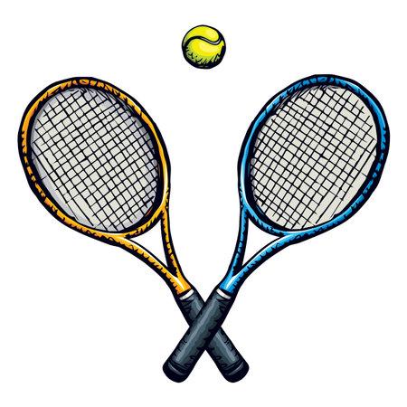 Squash stretched circle net racket ball isolated on white background. League smash gear set. 向量圖像
