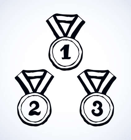 Contest leader medalist necklace round shape iso meed on white backdrop. Freehand outline black ink hand drawn sketchy in retro art scribble cartoon graphic style pen on paper with space for text