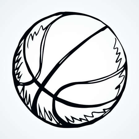 EuroBasket rubber sphere on light backdrop text space. Freehand linear black ink hand drawn picture emblem design sketchy in art retro doodle contour engrave print style pen on paper. View close up