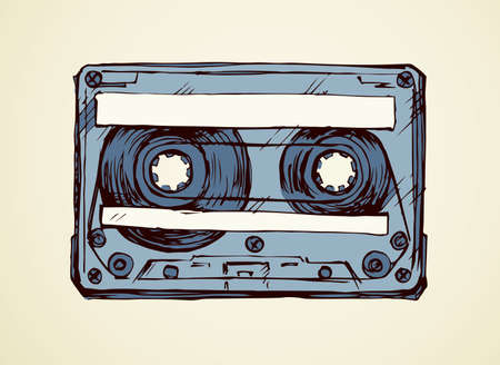 Aged cassette design set on white backdrop. Freehand outline black ink hand drawn 90s pop audiocassette object  pictogram badge sketchy in rock doodle style on paper space for text. Closeup view 向量圖像