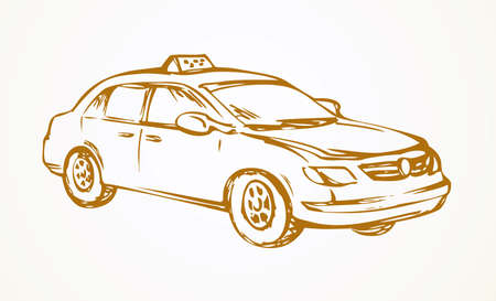 Cute city ad steering taxicab sedan smooth shape isolated on white background. Freehand outline ink hand drawn picture sign sketchy in art scribble style pen on paper. Side view with space for text
