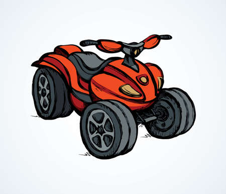 Three-wheeler quadbike engine machine on light desert backdrop. Bright red color hand drawn fun off-road four-track tire jump scooter