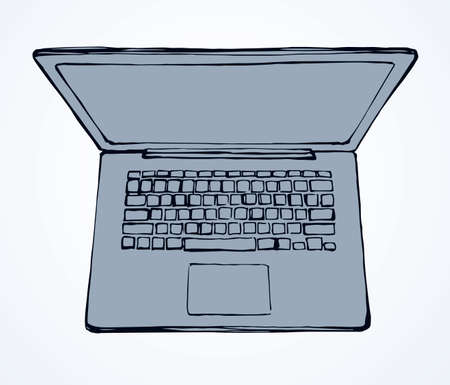 Empty open Lcd netbook type on white table backdrop. Outline ink hand drawn led netbook.