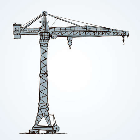 Big metal jib erection height build winch stand on white sky. Lifter job cabin  . Line black ink hand drawn wire built weight in art retro doodle sketch cartoon style pen on paper space for text