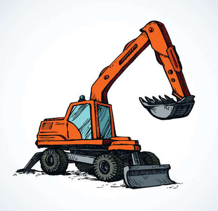 Utility power pneumatic mini cut cat model with dipper and big rubber bus on white background. Bright orange color hand drawn grab emblem pictogram. Side view on space for text on quarry grub land