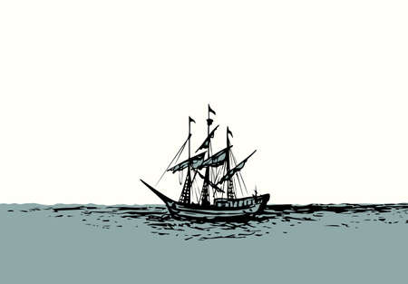Wooden classic tall buccaneer sailfish galley sailor pictogram icon on white sky text space.