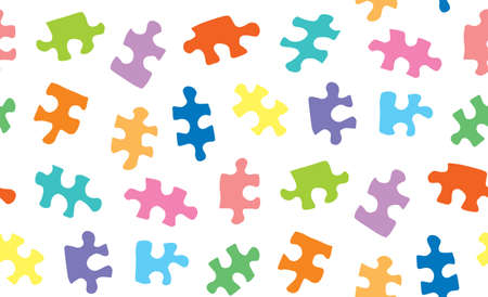 Scattered vibrant kid puzzle isolated on white backdrop. Bright multi color fond in art retro style. Closeup detail view