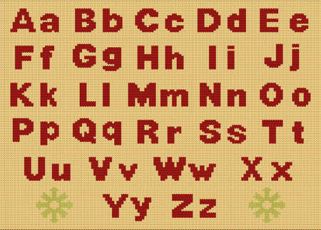 Cute cool cotton material crochet darn jumper capital word icon . Typeface set red color cartoon draw old folk xmas line art style. Closeup macro view light white abstract handicraft typeset decor