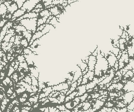 Old autumn hip rose ash tree light backdrop. Outline dark ink hand drawn king shrub  pictogram emblem design in retro art doodle engrave cartoon print style pen on paper text space. Closeup view 矢量图像