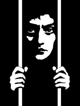 Closeup view adult crazy danger lone culpable sad burglar murder face. Alone despair bad young male offend iron confine inmate help up system icon sign vintage art graphic draw vector dark black space