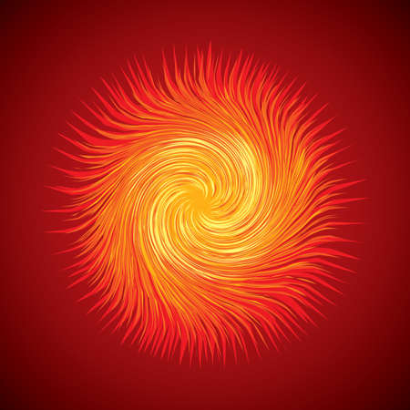 Artistic bright warm red burn circle midpoint drawing shape design. Optical illusion fuzzy sphere form in art cartoon creative style. Yellow color motley power boom ball symbol on dark space for text