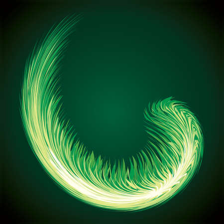 Bright circular white midpoint drawing wave flame shape art design. Fuzzy magic laser sphere form in modern creative fur line style. Lime color power sun boom ball symbol on dark night space for text