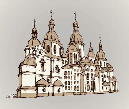 Historic orthodoxy Saint Sophia minster edifice in Kiev capital. Outline freehand black ink hand drawn logo sign icon picture in retro artist etch print cartoon style pen on white paper space for text
