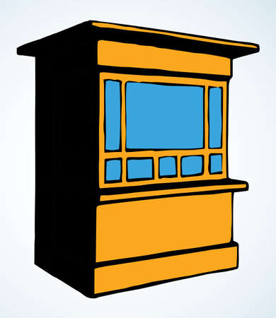 Local market mall cash booth boutique box stand house exterior. White text space. Yellow color hand empty town fruit cook hut symbol. Small urban cooking ice cream rack in art retro book cartoon style