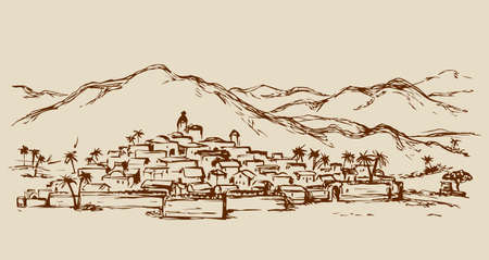 Old eastern persian orient scenic view with stone wall and edifice. Freehand outline ink hand drawn picture sketch in art retro engraved graphic style pen on paper and space for text on sky background