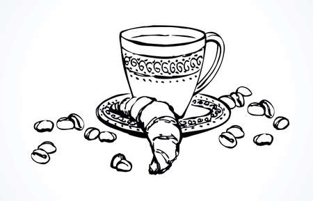 Old classic percolator, fresh hot black sweet brazil cocoa on white table. Hand drawn tasty tea dishware menu symbol. Arabian coffe cutlery ware crockery sketch in art cartoon style on space for text