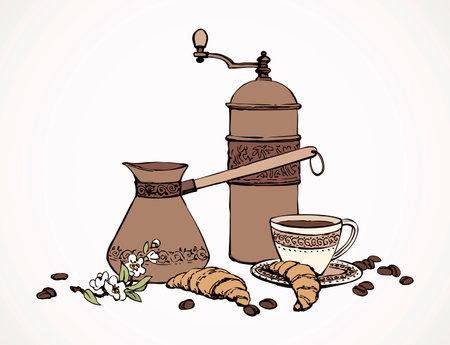 Old classic percolator, fresh hot black sweet brazil cocoa set on white table. Hand drawn tasty tea menu symbol. Arabian coffe cezve ware crockery sketch in art antique cartoon style on space for text