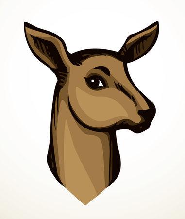 Cute elegant brown spot adult dama goat beast look. Outline black hand drawn red impala emblem design retro beauty art sketch zoology contour print style. Closeup view white wall text space backdrop Ilustración de vector