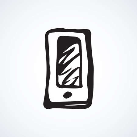Lcd touchphone on white backdrop. Data wifi app concept. Freehand line black ink hand drawn picture emblem sketchy in art modern doodle cartoon style pen on paper