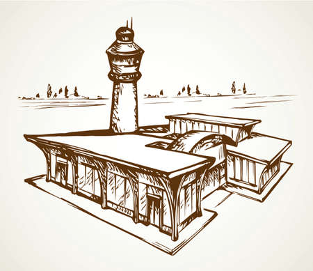 Small urban airfield port observation house on white field. Freehand outline black ink hand drawn jet avia trip aerodrome gate design logo sign in modern doodle cartoon style pen on paper text space