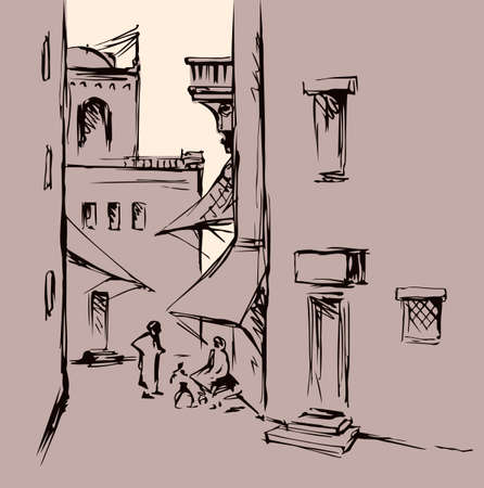 Aged orient bible heritage scene view. Retro muslim berber arch gate build dwelling on white background. Line black ink hand drawn saudi man quarter picture sketch in antique style pen on paper place